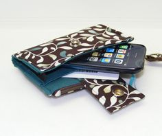 Cell Phone Wallet Brown with Turquoise Green Ivory by Cucio