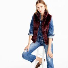 Faux-fur vest : Women coats & jackets   J.Crew