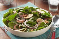 Spinach and Mushroom Salad Recipe - Healthy Living Kraft Recipes Kraft Foods, Kraft Recipes, Bacon Spinach Salad, Spinach Salad Recipes, Healthy Salad Recipes, Lunch Recipes, Mushroom Salad, Spinach Stuffed Mushrooms, Arrows