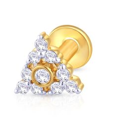 The gold nose stud with small diamonds placed across the edges of a triangular shaped stud. ,Gold & Diamond Nose Stud For Girls & Women. 18K/14K Gold With Certified Diamonds. Door Delivery
