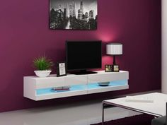 Idea - modern wall unit for tv / entertainment units / tv unit / tv cabinets Wall Mount Tv Stand, Led Tv Stand, Floating Tv Stand, Glass Tv Stand, Floating Wall, White Tv Stands, Cool Tv Stands, Tv 40, Hanging Tv