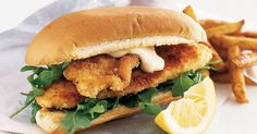 Serve these tasty fish burgers with oven baked chips and lemon wedges for a complete mid-week meal. Burger Recipes, Fish Recipes, Seafood Recipes, Dinner Recipes, Oven Baked Chips, Fish Burger, Burger Bar, Grilled Prawns, Budget Meals