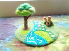 Needle Felted Play Mat With Little Brown Bunny