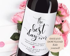 bottle crafts with label DIY Wedding Wine Label Cheers To Love Lauhter And Happily The Best Day Ever Bridal Shower Wine Label Rehearsal Dinner Wine Bottle Label PDF Bridal Shower Gifts For Bride, Bridal Shower Wine, Unique Bridal Shower, Bride Gifts, Wedding Wine Labels, Wedding Favours, Diy Wedding, Wedding Ideas, Wedding Reception