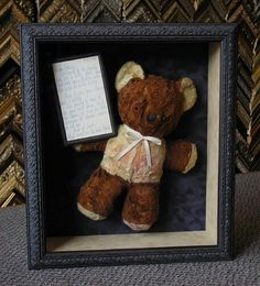 How sweet would it be to decorate the nursery with the teddy YOU had as a child? Vintage stuffed bear #customframing #shadowbox