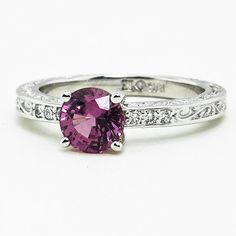 #brilliantearth  Delicate Antique Scroll Ring set with 6mm Round Pink Sri Lanka Sapphire