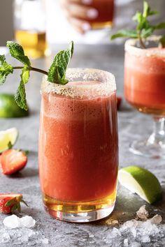 Mocktail fraises, érable et gingembre - K pour Katrine Cocktails, Drinks, Egg Free, Smoothies, Panna Cotta, Brunch, Fruit, Tableware, Ethnic Recipes