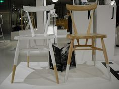 """E is for Ercol. As part of Conran Japan's Design A-Z ercol made two special versions of the stacking chair - one in clear with white """"socks"""" and one in white with clear socks."""