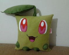 julies fav character-Handmade Pokemon Chikorita Party Favor Gift Stuffed Animal Toy Plush Pillow Cushion