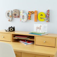 Kids' Banners & Hanging Décor: Kids Vintage Craft Paper Patterened Letters Wall Decor | The Land of Nod