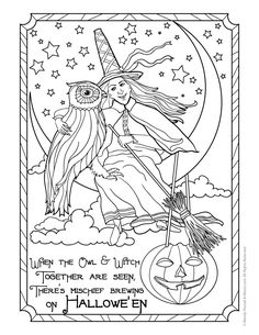 Witch And Owl Vintage Halloween Postcard Coloring Page