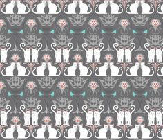 On my way to being a crazy cat lady....White Cat Damask fabric by juliesfabrics on Spoonflower - custom fabric