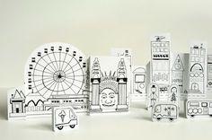 Attività Creative Per Bambini: Una Città di carta da colorare