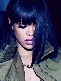 Rihanna in purple lipstick with her new long bob at Balmain fashion show. 570027ad845e