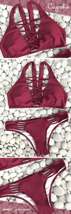 Lace up bikini set, get it! Short Shipping Time! Its the perfect go to bathing suit for style and comfort! It has high quality and super comfy fit. Show off your stunning style in this gorgeous solid color baby!