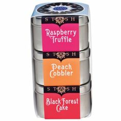 Dessert Teas Trio. No need for calorie counting here, these delicious sweet tooth satisfiers are guilt free and oh so good. 50 gram tins of Raspberry Truffle, Peach Cobbler and Black Forest Cake loose leaf tea.