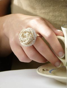 Offwhite crochet rose ring for sale on Etsy. Designed by FromParis - jewelry handmade in France.