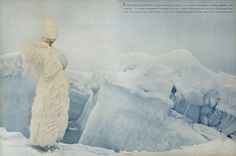 To sink into like a snowdrift, with all its glistening depths of dazzle: a coat of white ostrich feathers—swinging, weightless, wildly spectacular—for evenings when gala-levels are highest. Here, with a rounded white space-hennin worn over a white-wrapped head, at the crevice-striped tundra of Resolute Bay. Coat by Georges Kaplan. Hat by Halston.
