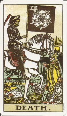 Death (XIII) is the thirteenth trump or Major Arcana card in most traditional Tarot decks. It is used in Tarot, tarock and tarocchi games as well as in divination. Major Arcana Cards, Tarot Major Arcana, Xiii Tarot, One Card Tarot, Tarot Death, Tarot Rider Waite, Tarot Waite, Tarot Decks, Astrology