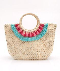 Straw Tassel Basket Bag