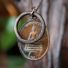 Buddha and Elephant Necklace and Antique African Ring Elephant Pendant Earthy Rustic.