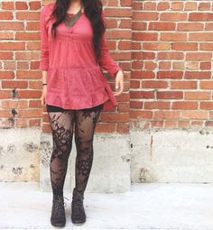 Urban outfitters, ootd , fashion, dress, leggings, outfit, bold necklace, boots #ouonyou