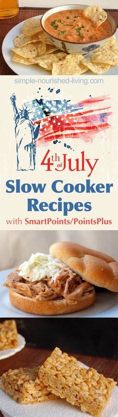 Weight Watchers Friendly easy, healthy and delicious summer slow cooker recipes for the Fourth of July - with SmartPoints/PointsPlus.