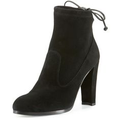Stuart Weitzman Catch Suede Bootie with Ankle Tie (585 AUD) ❤ liked on Polyvore featuring shoes, boots, ankle booties, navy, navy boots, stuart weitzman boots, navy ankle boots, ankle boots and navy booties