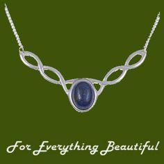 Celtic Knotwork Lapis Lazuli Design Stylish Pewter Necklace