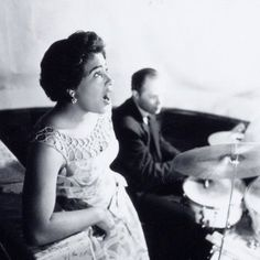 1950's. Singer Milly Scott and drummer Fred Gilhuys performing at the bar De Cockpit in the Leidsestraat in Amsterdam. Photo MAI Beeldbank. #amsterdam #1950 #Leidsestraat