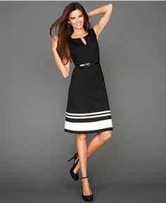 INC International Concepts Petite Dress, Sleeveless Striped-Hem Flared - Petite Dresses - Women - Macy's