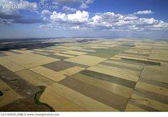 Aerial of Saskatchewan wheat fields, Canada