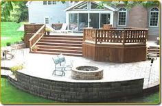 two tiered decks wood and stone - Google Search