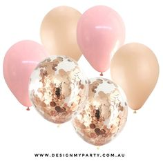 Rose Gold & Pink with 2 Rose Gold Copper Confetti Balloon solid coloured balloons and 2 clear balloons pre-filled with confetti. Balloons can be filled with air or helium.Inflate balloons on the day of your party, hours b. Metallic Balloons, Gold Confetti Balloons, Latex Balloons, Helium Balloons, 30th Birthday Parties, Gold Birthday, 35 Birthday Ideas, 18th Birthday Decor, 30th Birthday Balloons