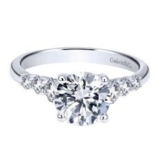 14K White Gold 1.50cttw Prong Set Graduated 7-Stone Round Diamond Engagement Ring from Mullen Jewelers
