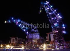 #Strasbourg #bynight  #nuit #city #light #grue #crane #industrial - photo © Jonathan Stutz