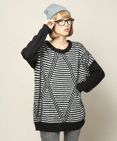 Shaggy stripe knit / ShopStyle(ショップスタイル): JEANASiS 3G