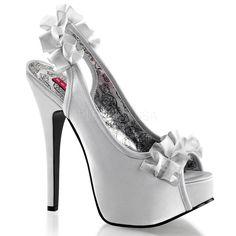 Bordello Teeze 56 Silver Satin Stiletto Peep-Toe Sling Back inch High Heels Stilettos, Women's Pumps, Stiletto Heels, Platform Pumps, Sexy High Heels, Ballerinas, Pump Shoes, Shoe Boots, Shoes Heels