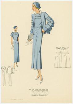 Image Title:  Complet d'été en petit tissu bleu pastellisé. Published Date: 1934