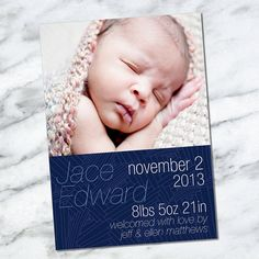 Custom Printable Download Baby Boy Birth Announcement Card - JACE- modern blue petal baby boy newborn announcement