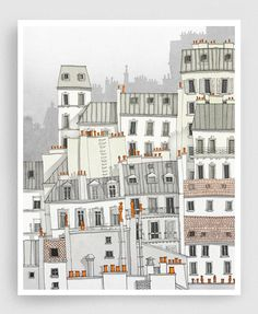 Paris, Montmartre - Paris illustration Paris Art Prints Posters Home decor Wall decor Gift ideas for her Modern Architectural drawing White