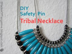 Shades Of Tangerine: Safety Pin Tribal Necklace (DIY) Safety Pin Art, Safety Pin Crafts, Safety Pins, Safety Dance, Safety Pin Bracelet, Safety Pin Jewelry, Tribal Necklace, Diy Necklace, Necklace Tutorial