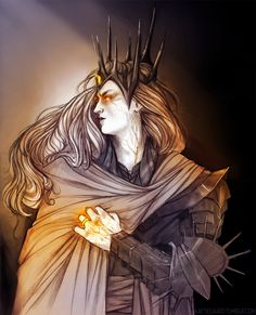 """Then Sauron came. We had long heard rumour of him from seamen returned from the east. Some said he was a king greater than the kings of Numenor;  Some said he was one of the Powers or their offspring, set to govern Middle Earth. A few reported that he was an evil spirit, perchance Morgoth returned; but at these we laughed."""