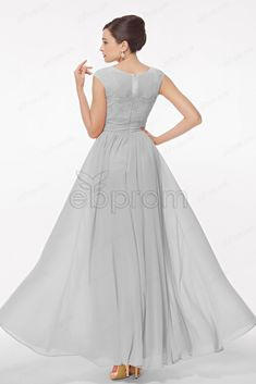Modest Neutral Grey bridesmaid dresses cap sleeves b304c0d9e
