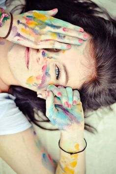 Add pretty colors to your photoshoot... Play with paint!! Get it on your face and take portraits! :)