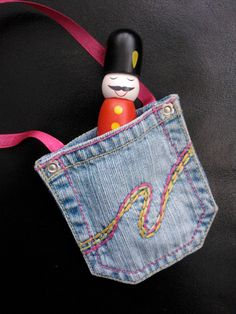 Denim Jeans Purse - Mini bag with ribbon strap ideal girls gift made from upcycled jeans pocket (6.50 GBP) by ShabbySheUK