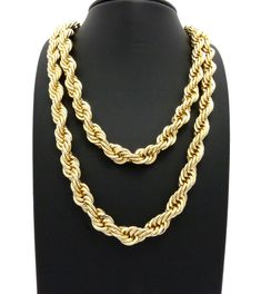 "10mm/22"" & 10mm/26"" ROPE CHAIN HIP HOP NECKLACES"