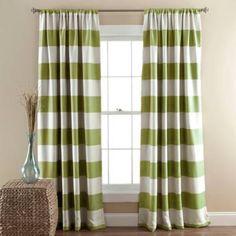 product image for Lush Décor Stripe Room Darkening 84-Inch Rod Pocket Window Curtain Panel Pair