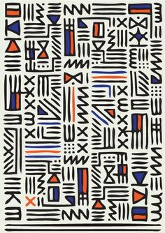 Pattern Knit by QUE DESIGN STORE, hieroglyphic pattern, geometric, orange blue black, fabric design Geometric Patterns, Graphic Patterns, Textile Patterns, Cool Patterns, Print Patterns, Graphic Design, Geometric Fabric, Geometric Shapes, Surface Pattern Design
