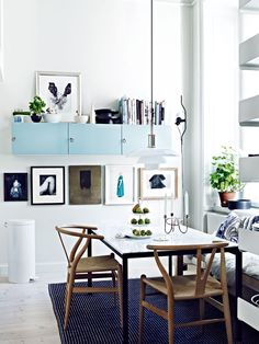 Jonas Ingerstedt home, kitchen, light turquoise cabinets